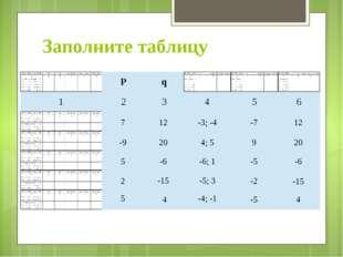 Заполните таблицу 7 12 -3; -4 -7 12 -9 20 4; 5 9 20 5 -6 -6; 1 -5 -6 2 -15 -5