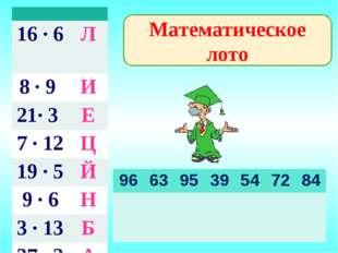 Математическое лото  16 · 6 Л 8 · 9 И 21· 3 Е 7 · 12 Ц 19 · 5Й 9 · 6Н