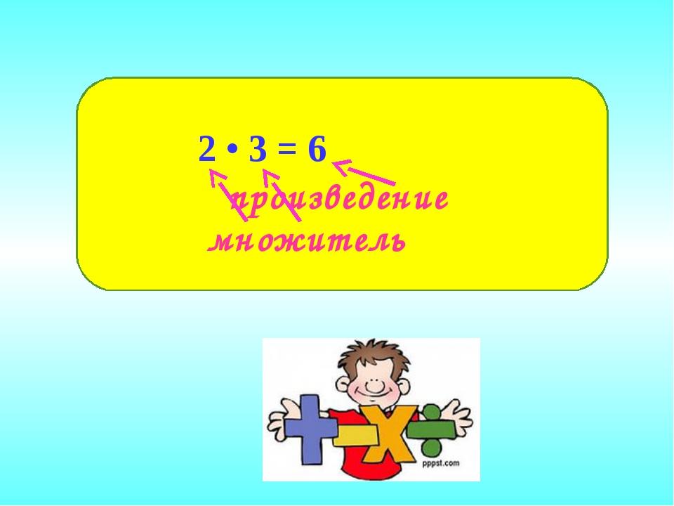 произведение 2 • 3 = 6 множитель