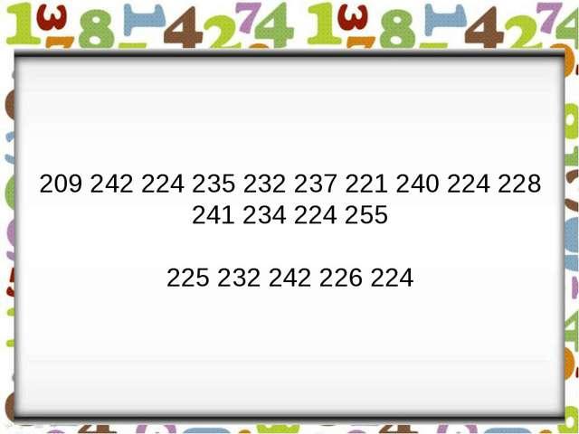 209 242 224 235 232 237 221 240 224 228 241 234 224 255 225 232 242 226 224
