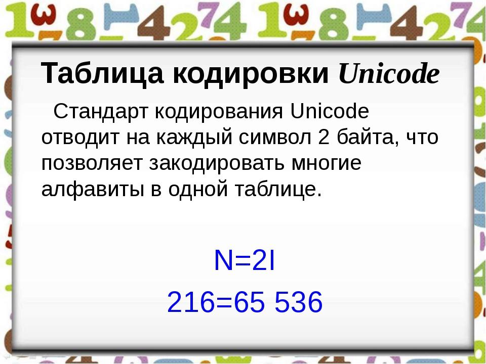 Таблица кодировки Unicode Стандарт кодирования Unicode отводит на каждый симв...