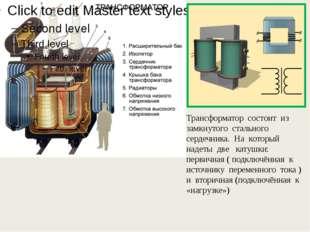 Трансформатор состоит из замкнутого стального сердечника. На который надеты