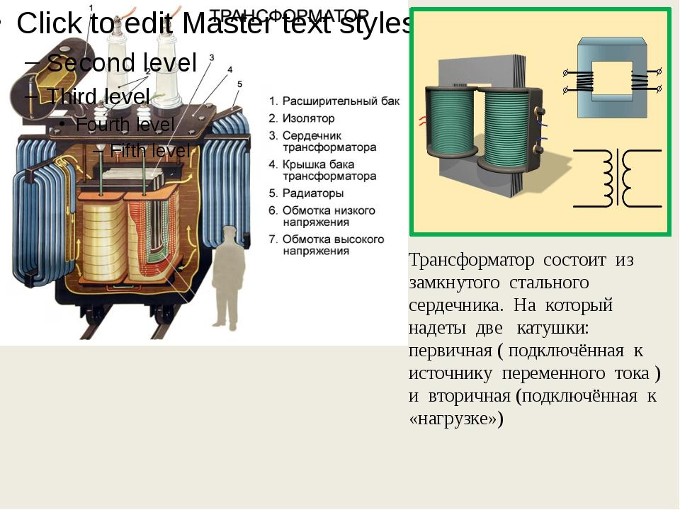 Трансформатор состоит из замкнутого стального сердечника. На который надеты...
