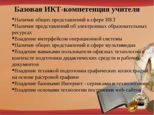 Базовая ИКТ-компетенция учителя Наличие общих представлений в сфере ИКТ Налич