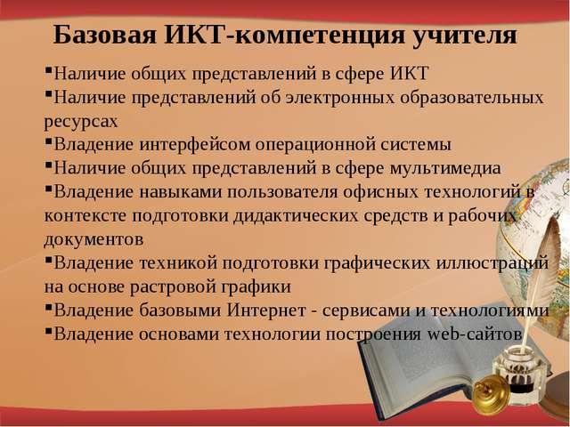 Базовая ИКТ-компетенция учителя Наличие общих представлений в сфере ИКТ Налич...
