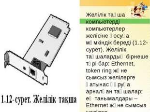 Желілік тақша компьютерді компьютерлер желісіне қосуға мүмкіндік береді (1.12