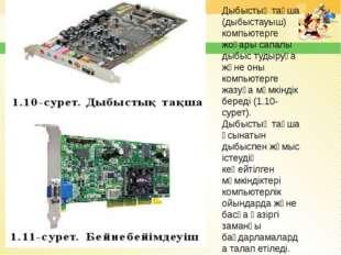 Дыбыстық тақша (дыбыстауыш) компьютерге жоғары сапалы дыбыс тудыруға және оны