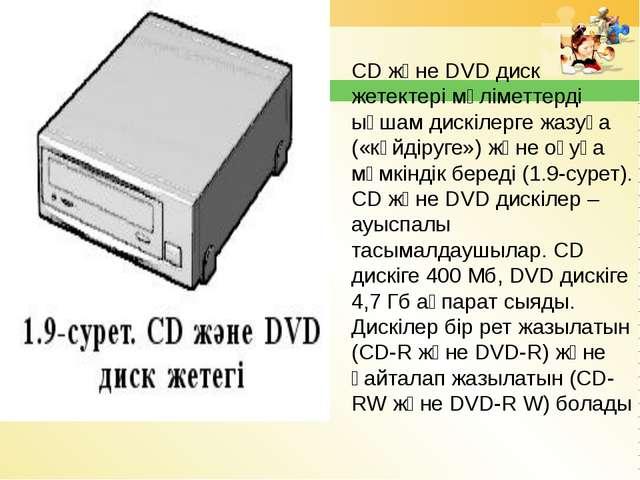CD және DVD диск жетектері мәліметтерді ықшам дискілерге жазуға («күйдіруге»)...