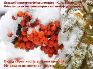 Большой мастер создания метафор – С. А. Есенин. Одна из самых запоминающихся