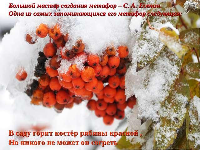 Большой мастер создания метафор – С. А. Есенин. Одна из самых запоминающихся...