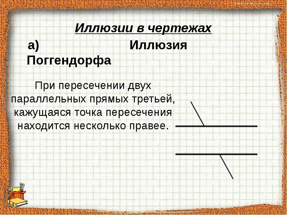 При пересечении двух параллельных прямых третьей, кажущаяся точка пересечени...