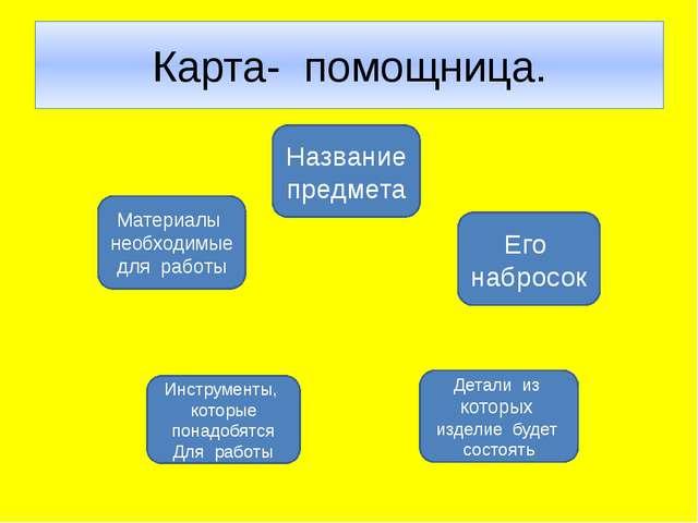 Карта- помощница.    Материалы необходимые для работы Название предмета Ег...