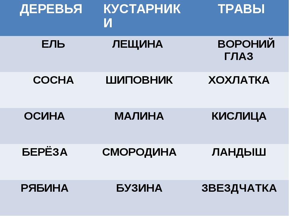 ДЕРЕВЬЯКУСТАРНИКИТРАВЫ ЕЛЬЛЕЩИНАВОРОНИЙ ГЛАЗ СОСНАШИПОВНИКХОХЛАТКА ОСИН...