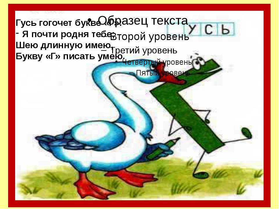 Гусь гогочет букве «Г»: Я почти родня тебе; Шею длинную имею, Букву «Г» писа...