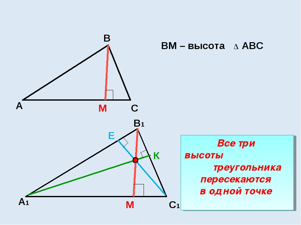 М ВМ – высота АВС ∆ А1 С1 В1 М Е К Все три высоты треугольника пересекаются в...
