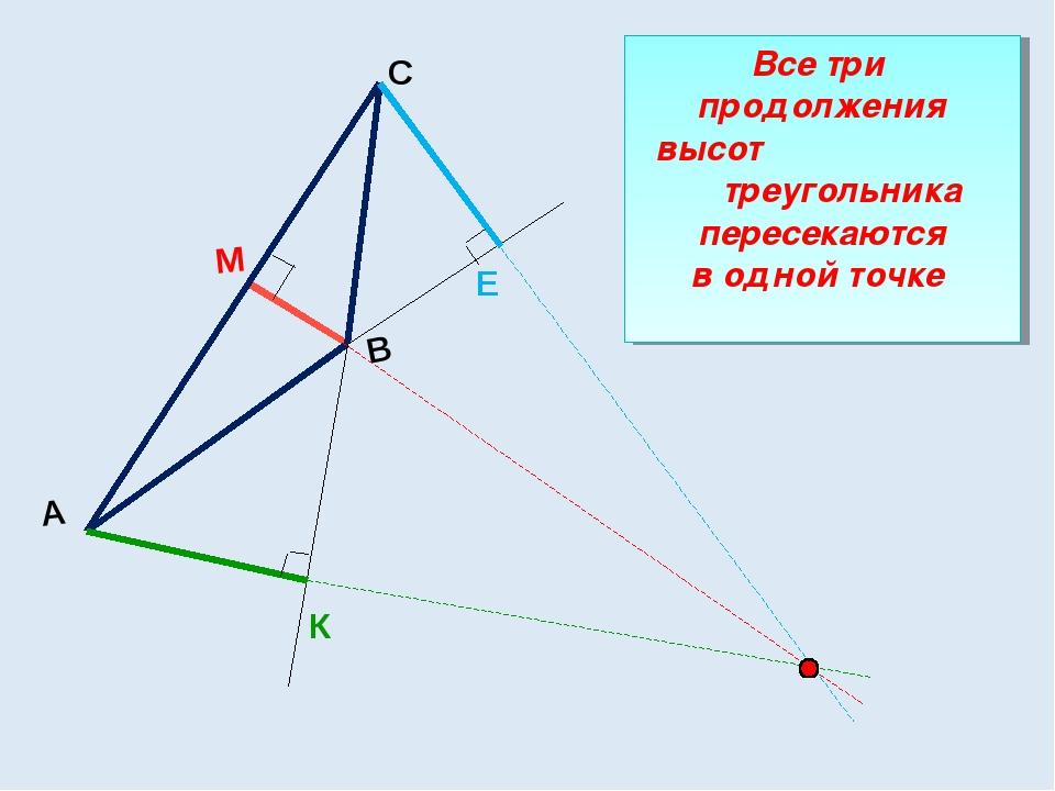 А С В М Е К Все три продолжения высот треугольника пересекаются в одной точке