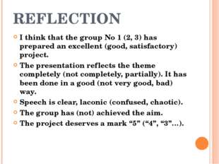 REFLECTION I think that the group No 1 (2, 3) has prepared an excellent (good