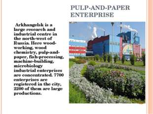 PULP-AND-PAPER ENTERPRISE Arkhangelsk is a large research and industrial cent