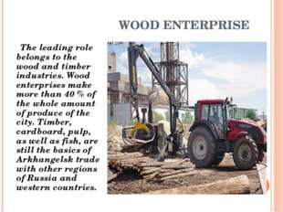 WOOD ENTERPRISE The leading role belongs to the wood and timber industries. W