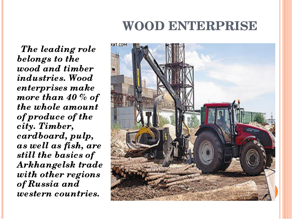 WOOD ENTERPRISE The leading role belongs to the wood and timber industries. W...