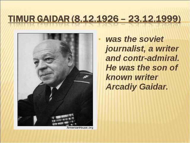 was the soviet journalist, a writer and contr-admiral. He was the son of know...