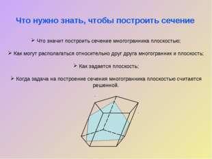 Что значит построить сечение многогранника плоскостью; Как могут располагать