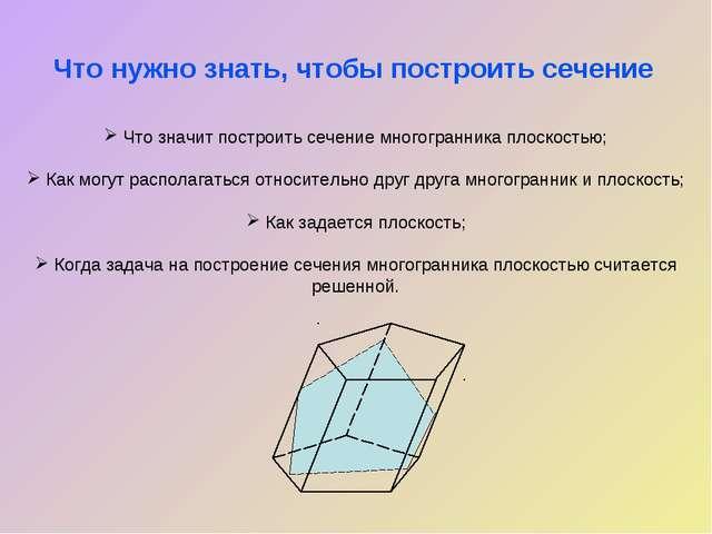 Что значит построить сечение многогранника плоскостью; Как могут располагать...