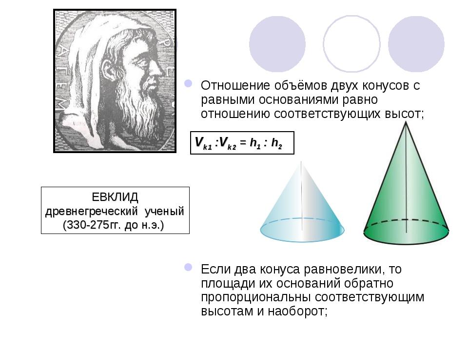 Отношение объёмов двух конусов с равными основаниями равно отношению соответс...
