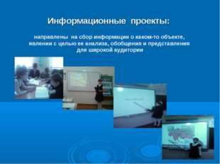 Информационные проекты: направлены на сбор информации о каком-то объекте, явл
