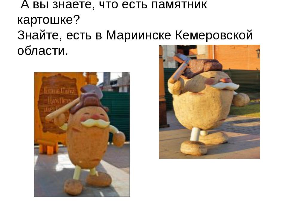 А вы знаете, что есть памятник картошке? Знайте, есть в Мариинске Кемеровско...