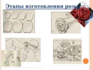 Этапы изготовления розы Заготовки лепестков Скрутка лепестков Обрез корешка р