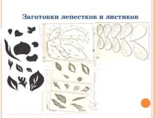 Заготовки лепестков и листиков Свяжина Елизавета Максимовна , МБОУ Шугурская