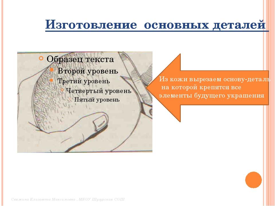 Изготовление основных деталей Из кожи вырезаем основу-деталь на которой креп...
