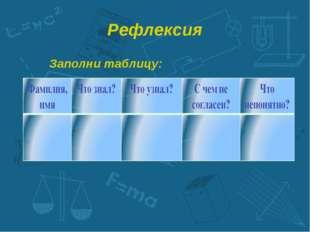 Рефлексия Заполни таблицу: