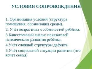 УСЛОВИЯ СОПРОВОЖДЕНИЯ 1. Организация условий (структура помещения, организац