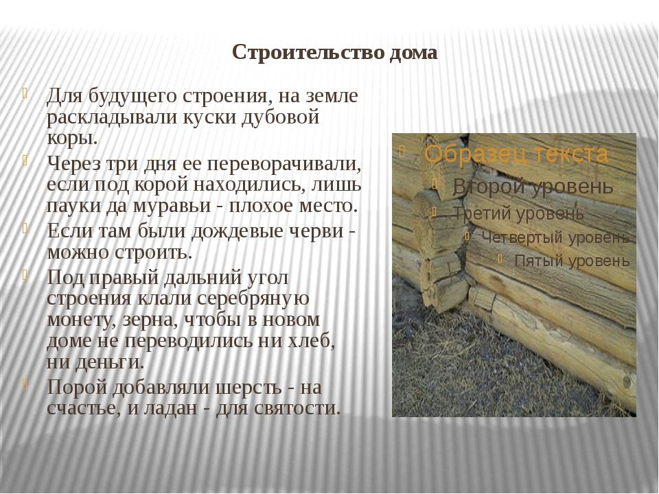 Строительство дома Для будущего строения, на земле раскладывали куски дубовой...