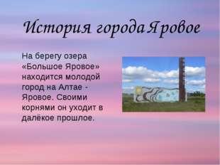 На берегу озера «Большое Яровое» находится молодой город на Алтае - Яровое.