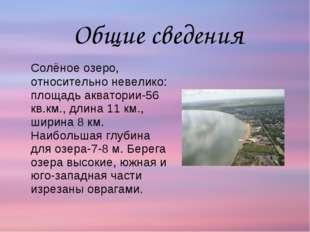 Солёное озеро, относительно невелико: площадь акватории-56 кв.км., длина 11