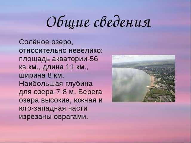 Солёное озеро, относительно невелико: площадь акватории-56 кв.км., длина 11...