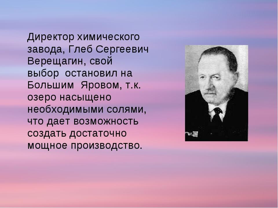 Директор химического завода, Глеб Сергеевич Верещагин, свой выбор остановил...