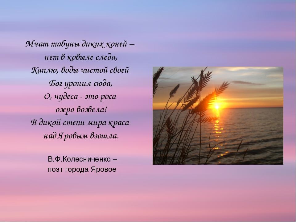 Мчат табуны диких коней – нет в ковыле следа, Каплю, воды чистой своей Бог ур...