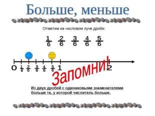 Отметим на числовом луче дроби: Из двух дробей с одинаковыми знаменателями бо