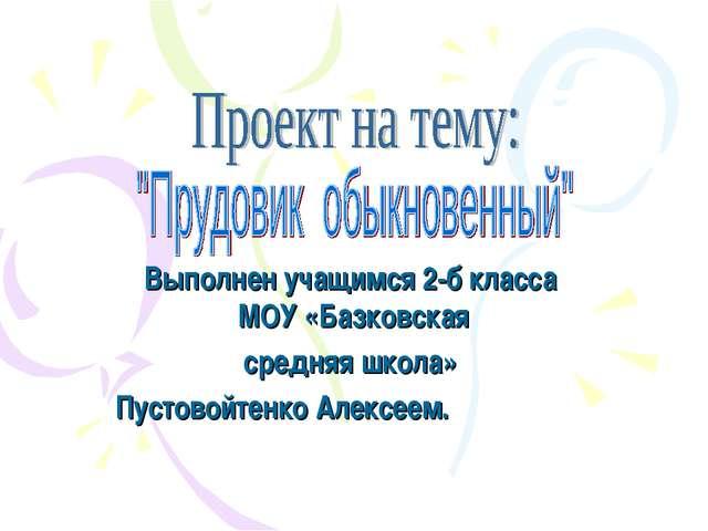 Выполнен учащимся 2-б класса МОУ «Базковская средняя школа» Пустовойтенко Але...