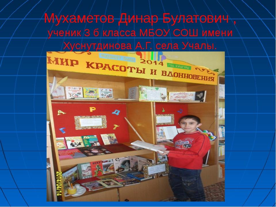 Мухаметов Динар Булатович , ученик 3 б класса МБОУ СОШ имени Хуснутдинова А.Г...