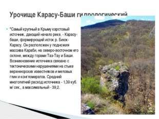 """""""Самый крупный в Крыму карстовый источник, дающий начало реке, - Карасу-баши,"""