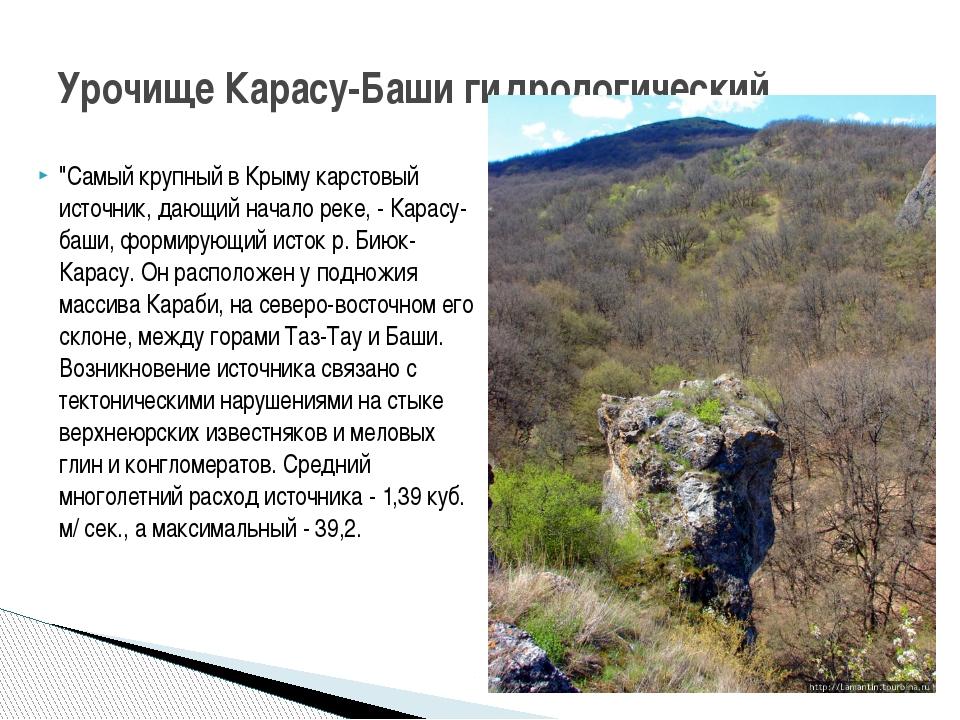 """""""Самый крупный в Крыму карстовый источник, дающий начало реке, - Карасу-баши,..."""