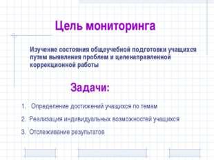 Цель мониторинга Изучение состояния общеучебной подготовки учащихся путем вы