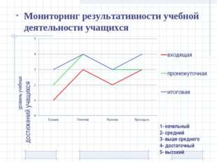 1- начальный 2- средний 3- выше среднего 4- достаточный 5- высокий Мониторинг