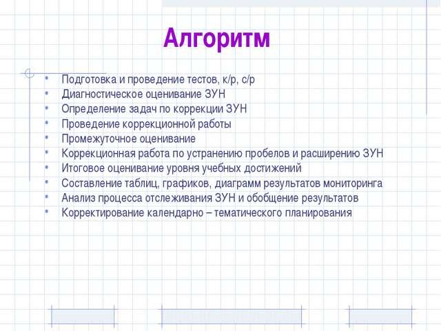 Алгоритм Подготовка и проведение тестов, к/р, с/р Диагностическое оценивание...