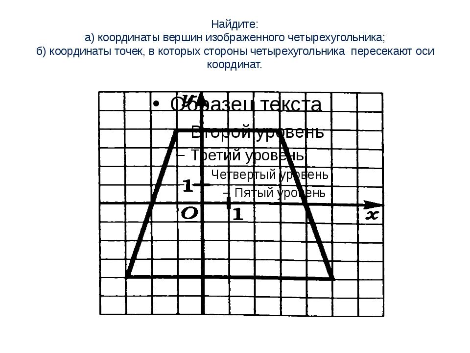 Найдите: а) координаты вершин изображенного четырехугольника; б) координаты т...